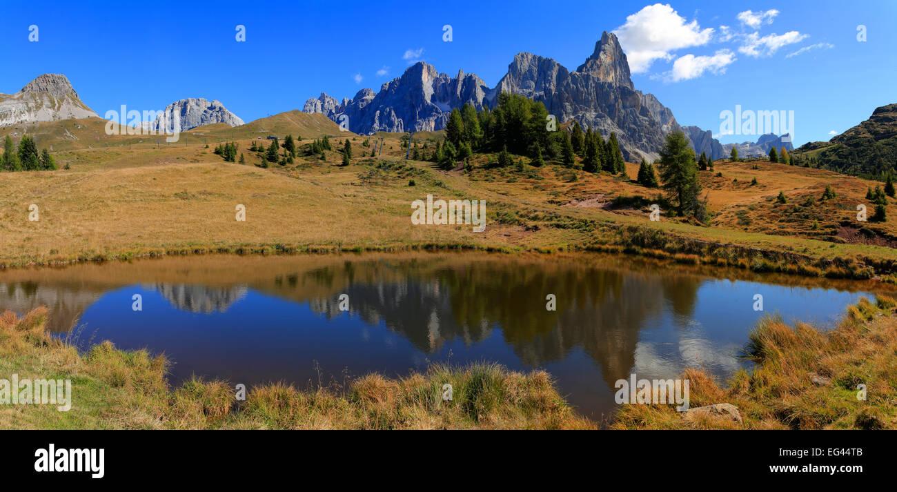 Cimon della Pala, Passo Rolle, Autumn, Trentino Province, Italy Stock Photo