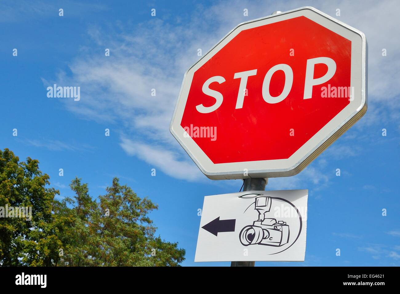Stop sign with pointer to a lookout Point, Licciola in L'Ile-Rousse, Haute Corse, Corsica, France - Stock Image