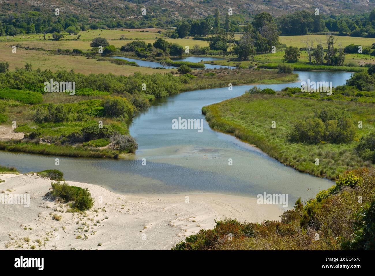 Mouth of the river Ostriconi in Calvi, Corse-du-Sud, Corsica, France - Stock Image