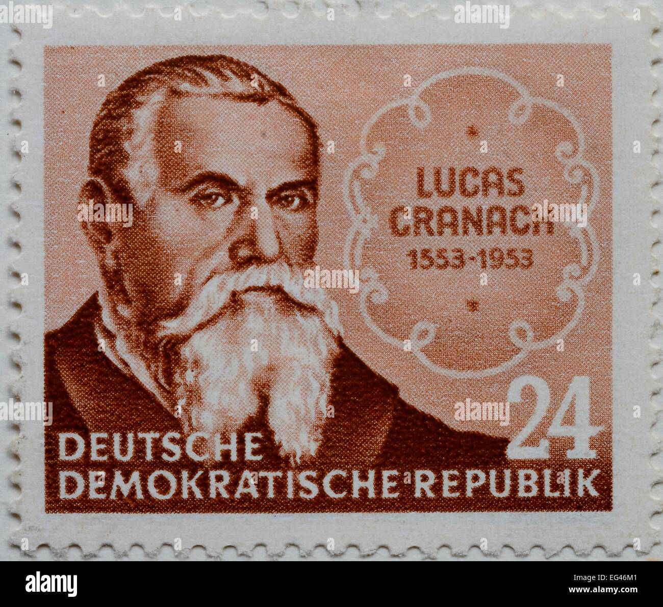 RMucas Cranach the ERMder, a German Renaissance painter and printmaker, portrait on a stamp, GDR, 1953 - Stock Image