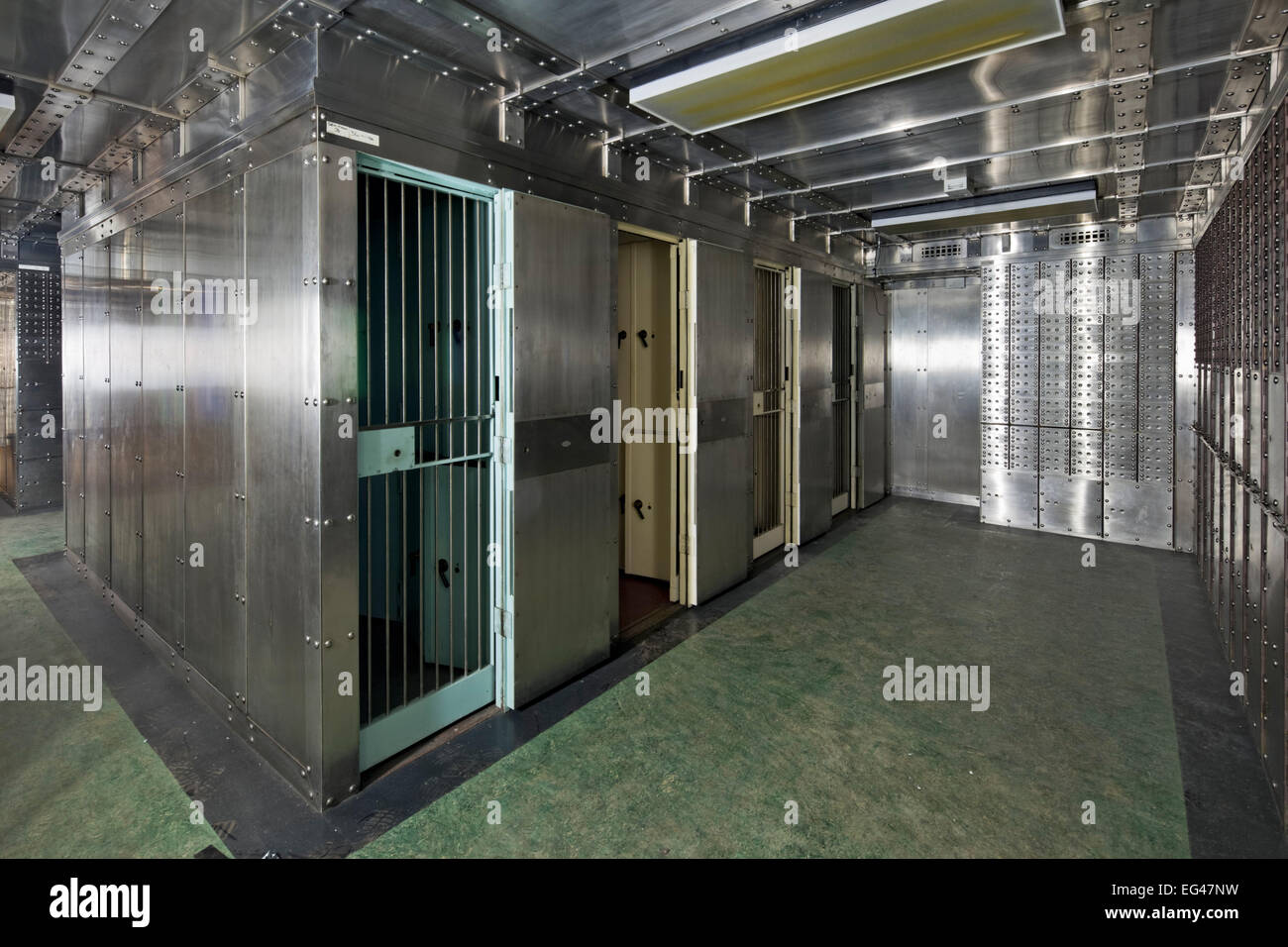 strong-room interior of a disused bank vault - Stock Image