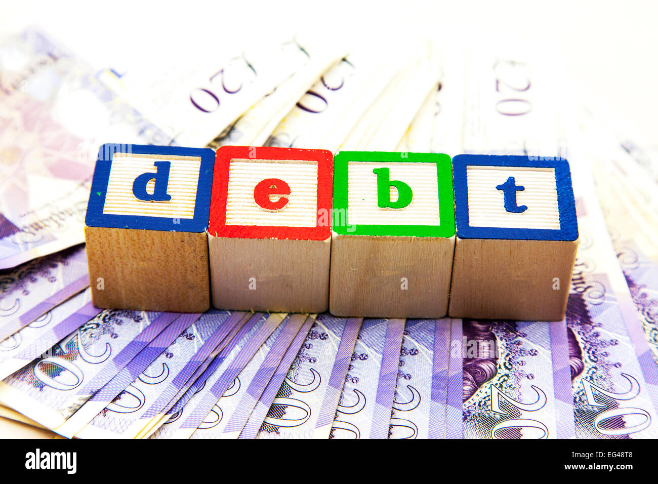 Debt rising cost costs money woes owe owing funding funds revenue income critical national  situation cut out copy - Stock Image