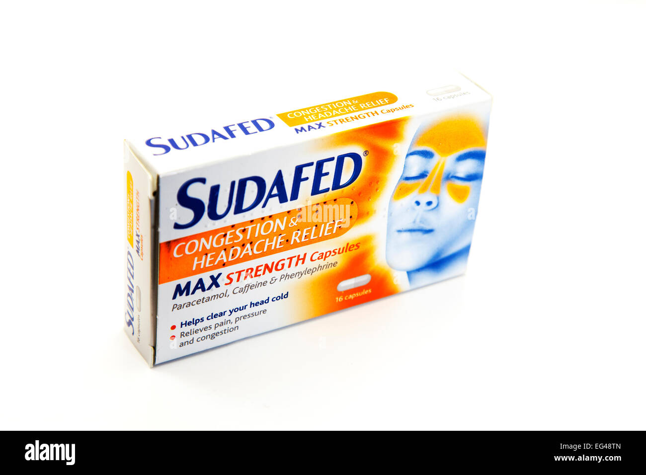 Sudafed max strength congestion headache relief remedy medication cold flu cut out white background - Stock Image