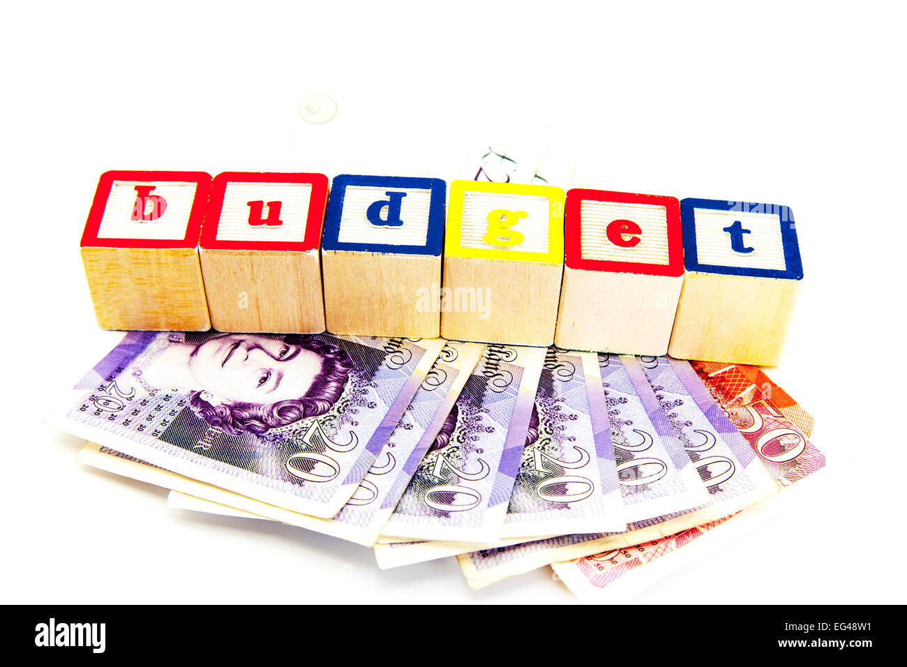 budget money cash government funds fund manage expenses cut out copy space white background - Stock Image