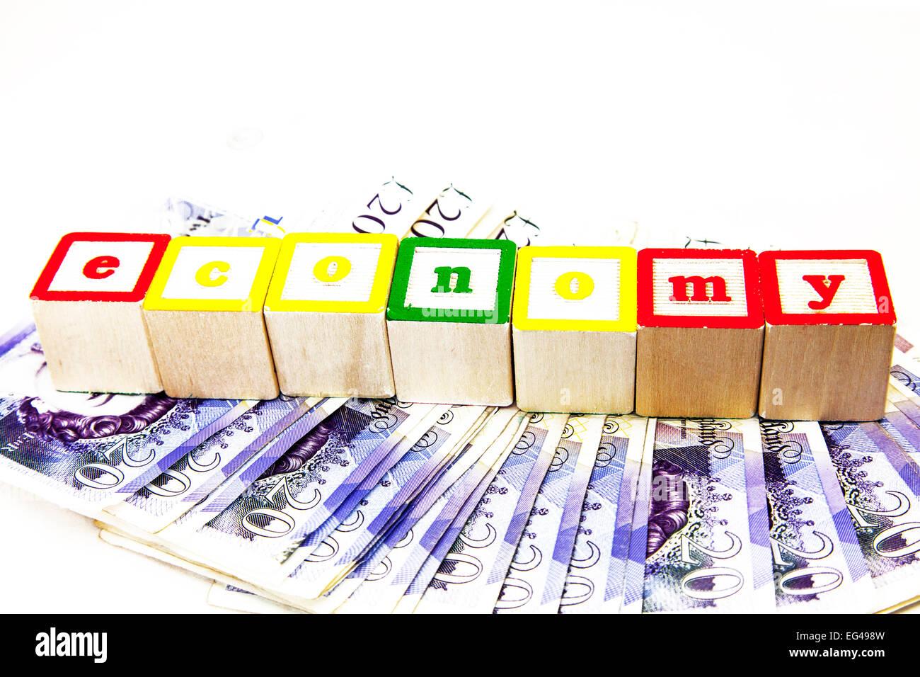 Economy UK value for money economise economics austerity debt debts government concept Copy space cut out white - Stock Image