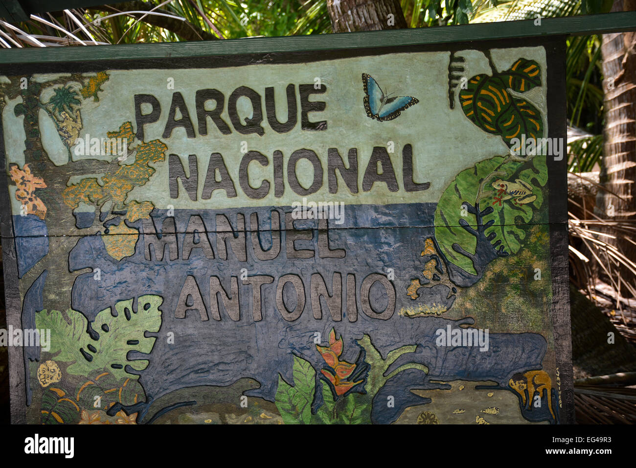 Manuel Antonio National Park Entrance Sign Stock Photo