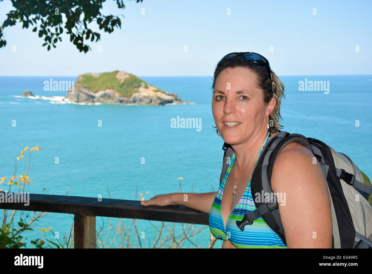 Middle Aged Caucasian woman on vacation Stock Photo
