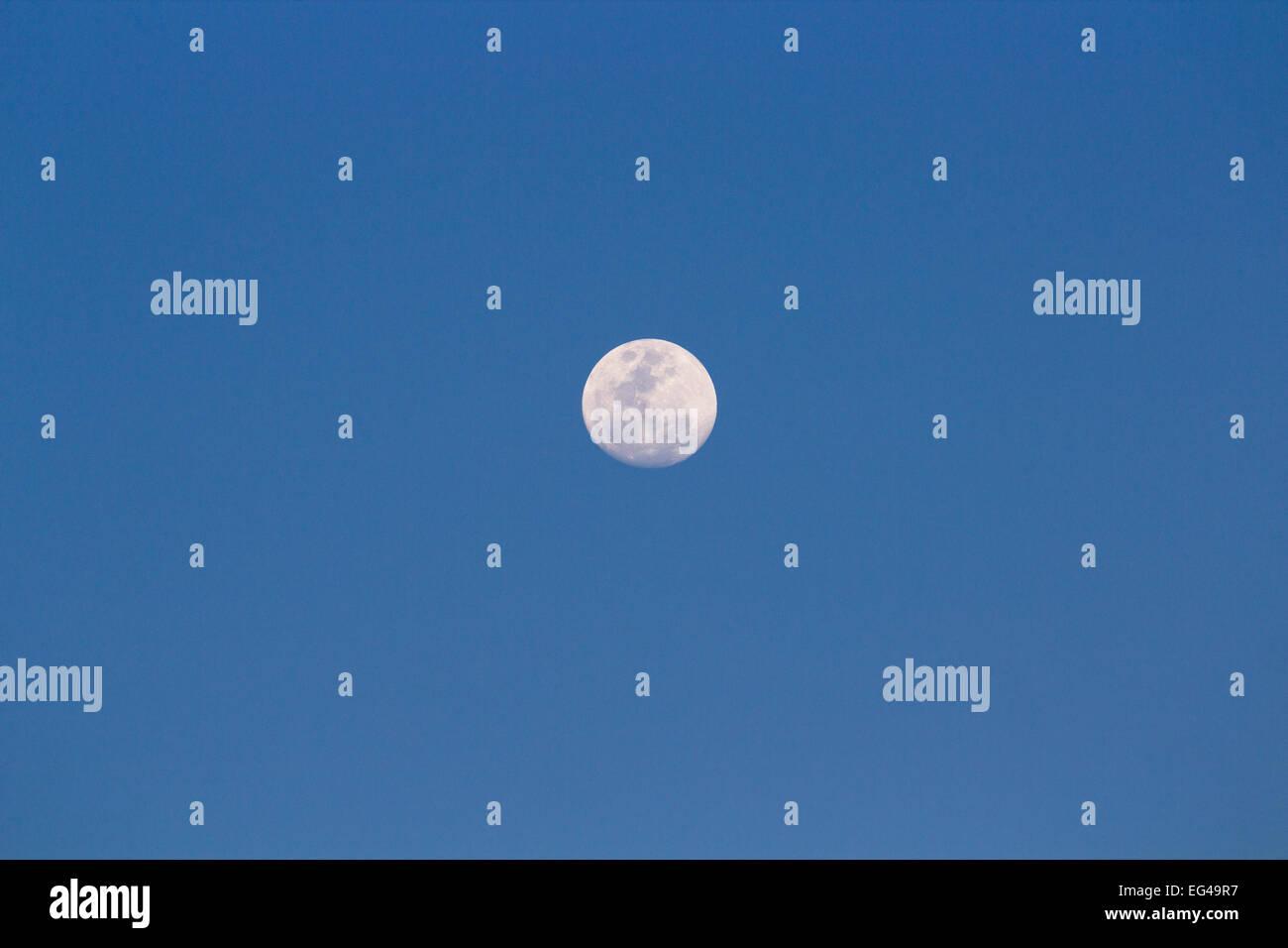 Full moon in blue sky Stock Photo