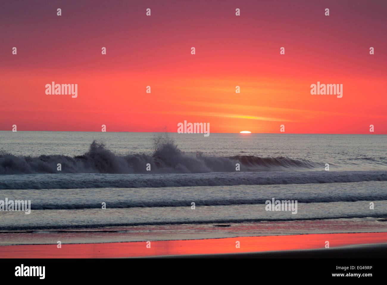 Tidal waves with sunset Stock Photo