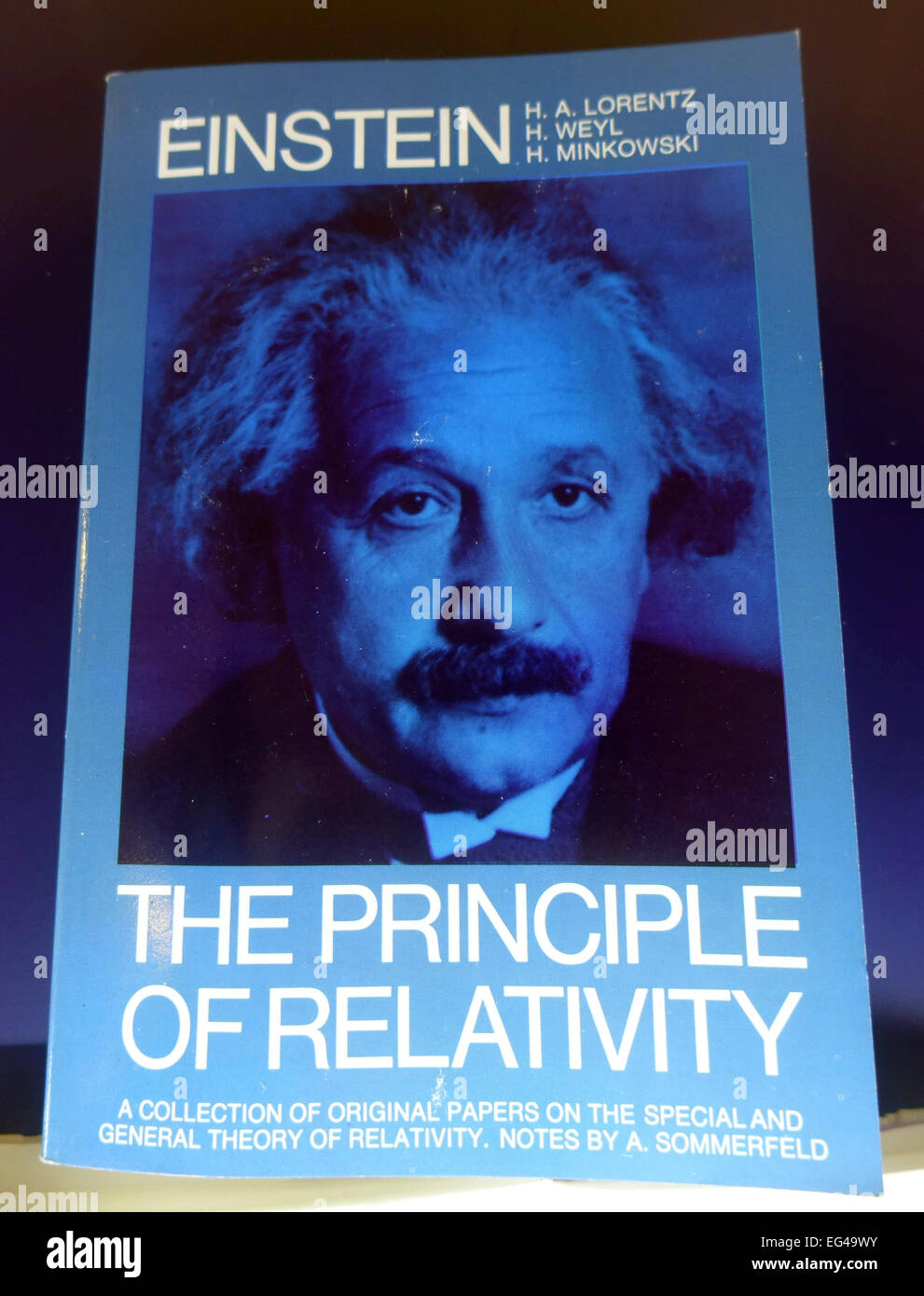 Book about Albert Einstein and relativity displayed in museum, Las Palmas de Gran Canaria - Stock Image
