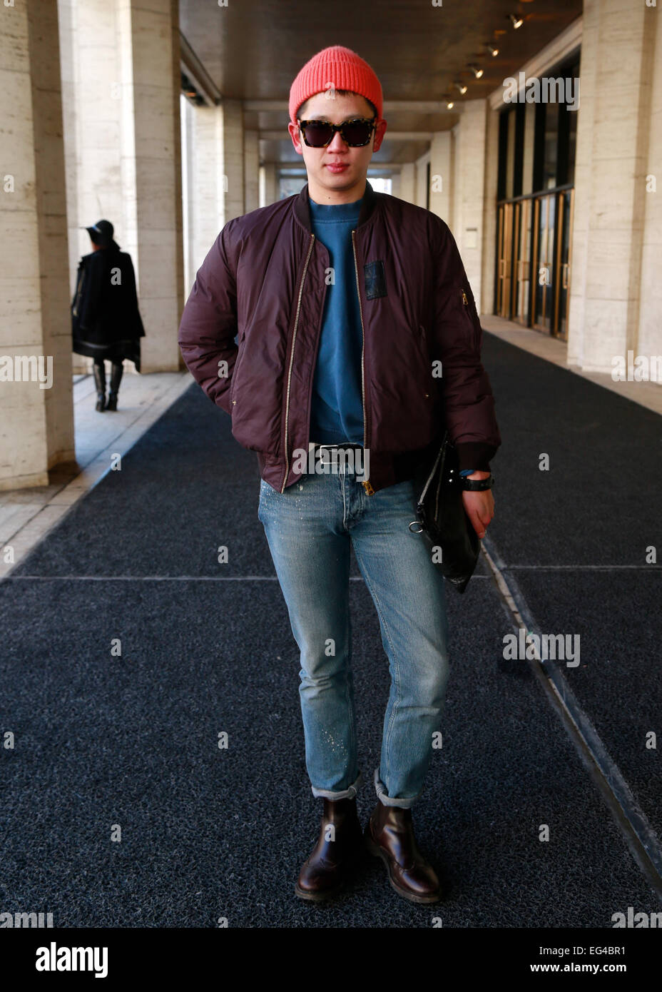 Darle arriving at the Mongol runway show in New York City - Feb 13, 2015 - Photo: Runway Manhattan/Charles Eshelman/picture Stock Photo