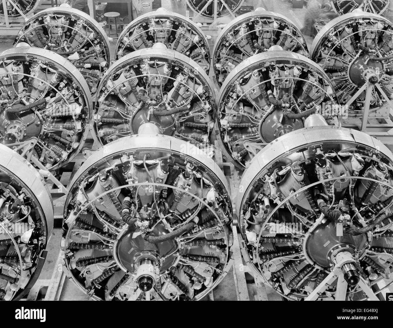 Production. B-17 heavy bomber. 1200-horsepower Wright engines for B-17F (Flying Fortress) bombers ready for installation - Stock Image