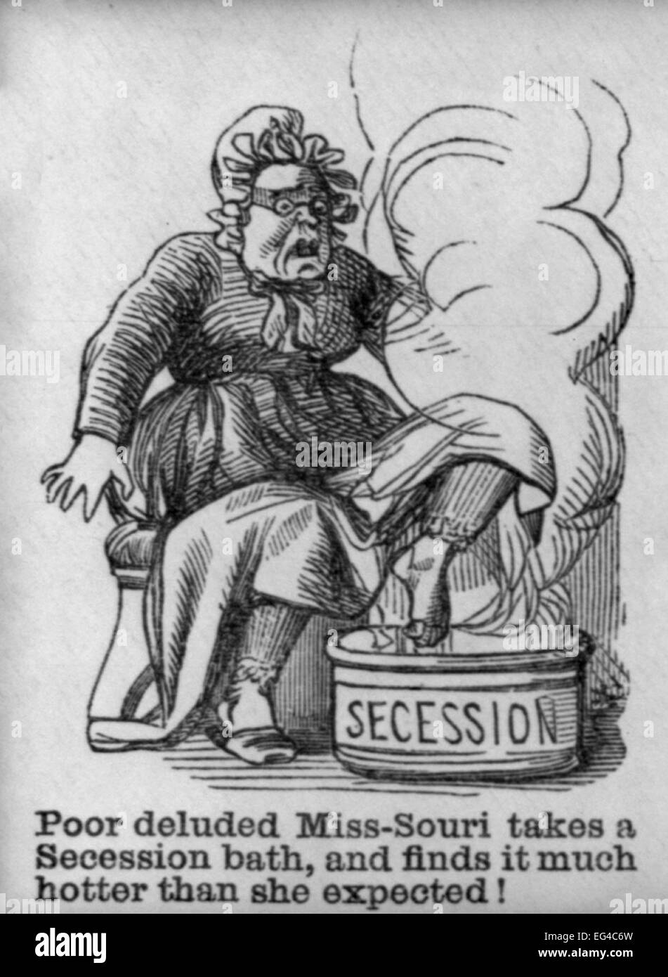 Illustrated Civil War 'Union Envelopes':  Poor deluded Miss-Sori takes a Secession Bath, circa 1861 - Stock Image