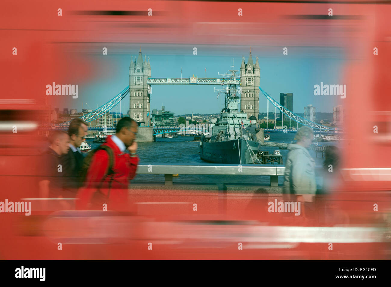 Abstract photo Tower Bridge blurred motion red bus London June 2013. Digitally manipulated. - Stock Image