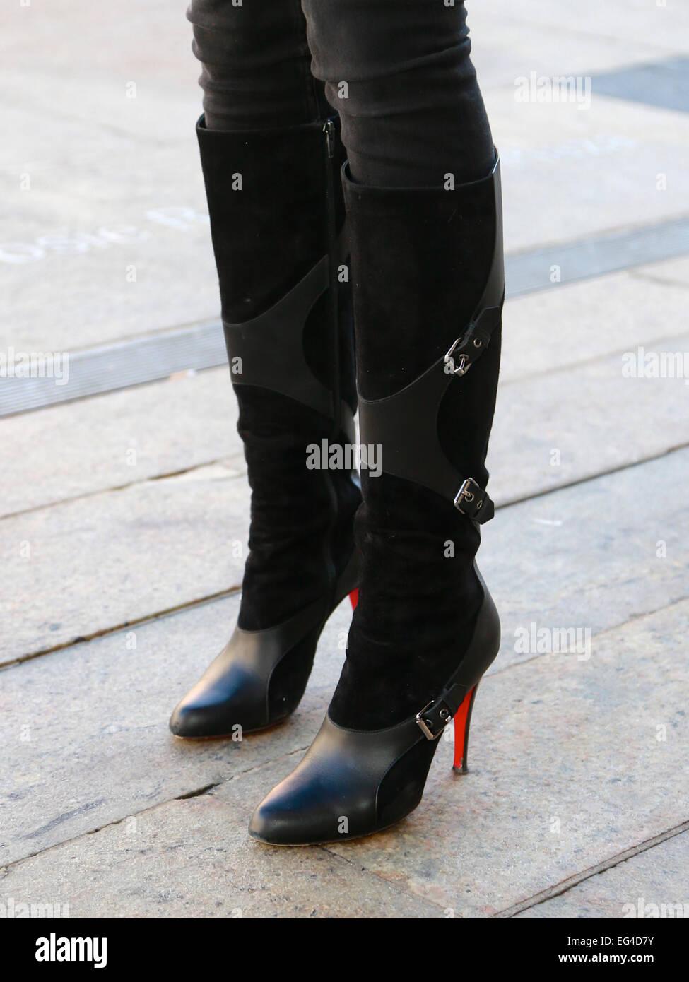 b0178e8efdf Black Suede Knee High Boots Stock Photos   Black Suede Knee High ...