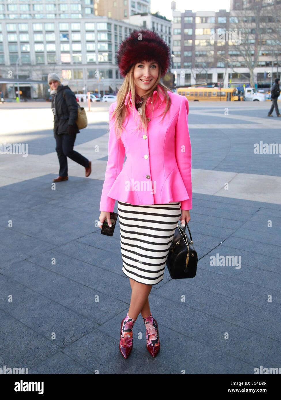 Sandra Kleine Staarman arriving at Mark & Estel runway show in New York City - Feb 13, 2015 - Photo: Runway - Stock Image