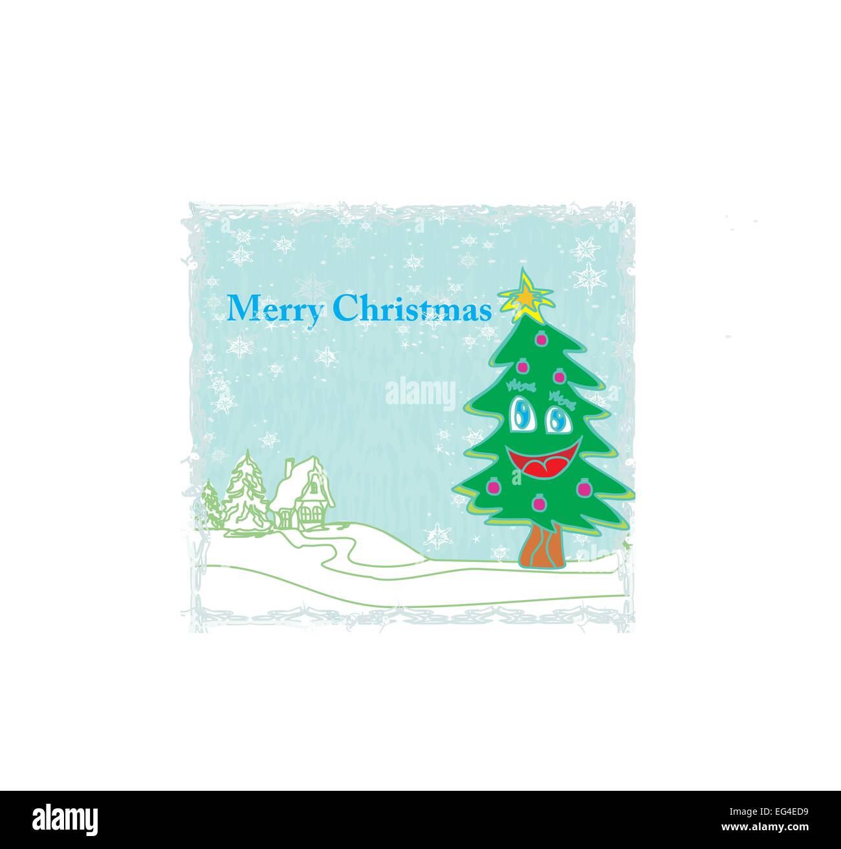 funny Christmas tree sings - Stock Vector