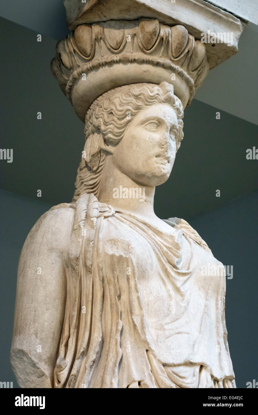 British Museum, London, UK. The Erectheum Caryatid, one of the Elgin Marbles brought to London between 1803 and - Stock Image