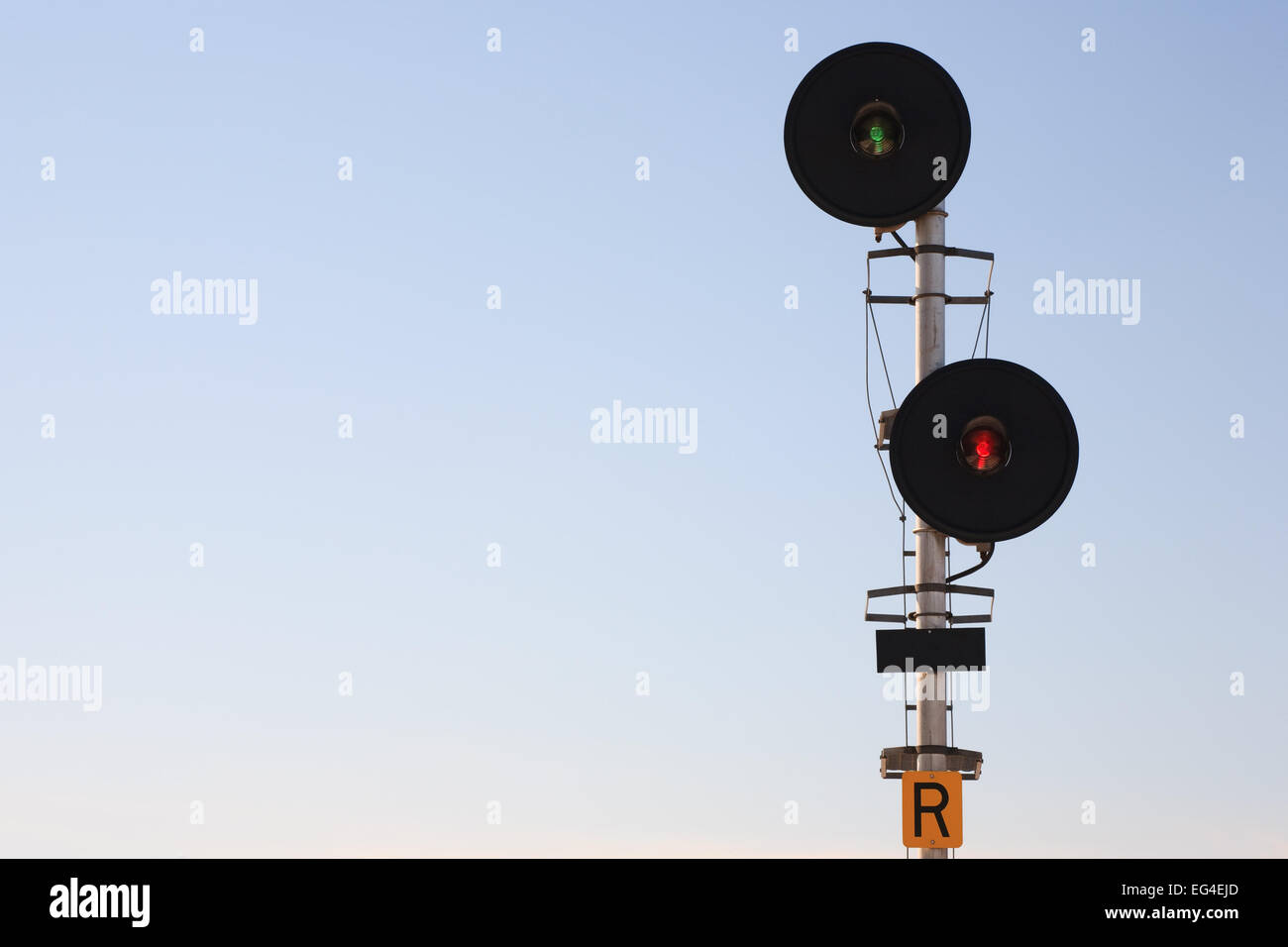 Railway signal lights and clear sky Stock Photo: 78775269 ... on