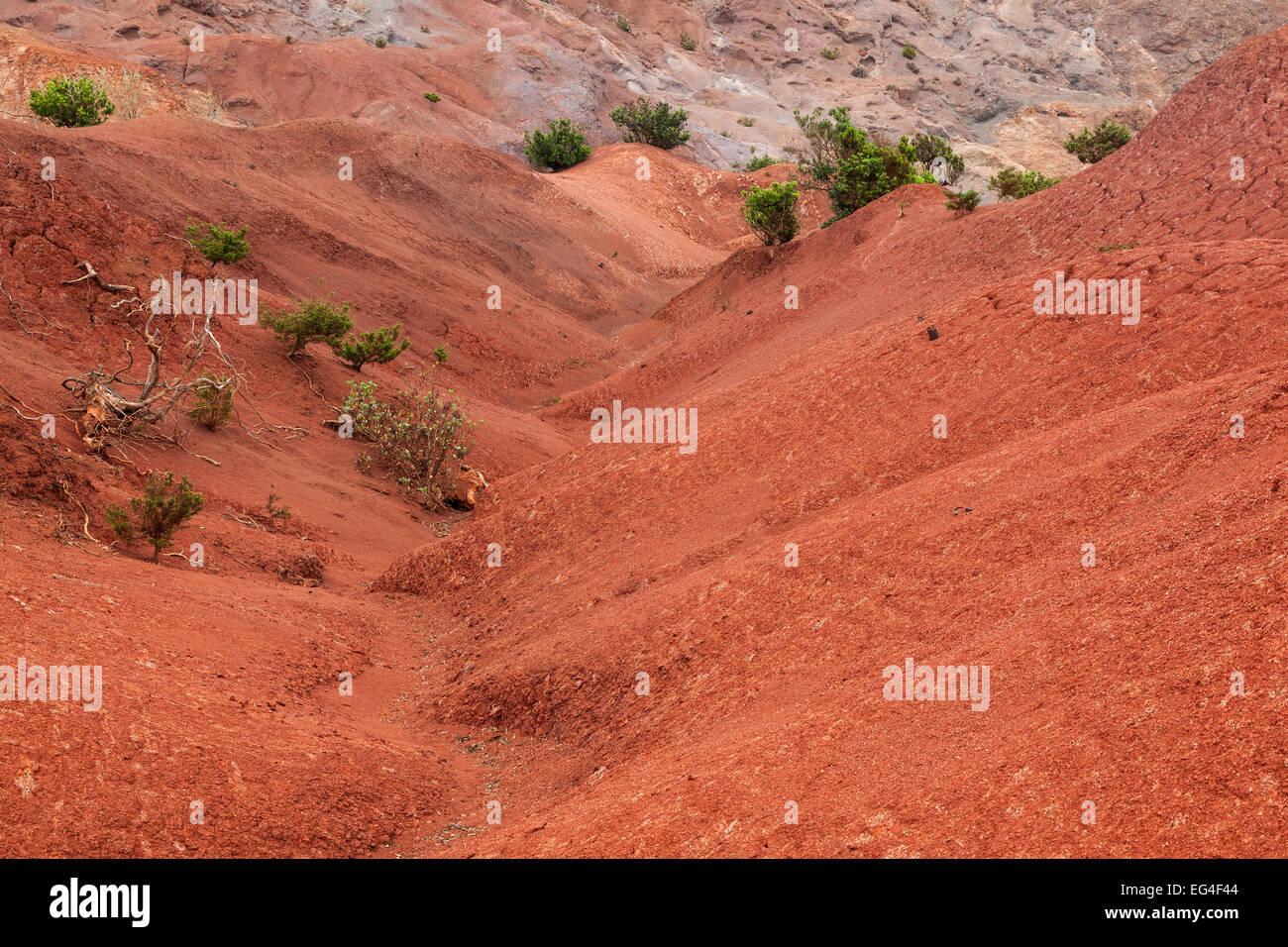 Red soil, erosion, above the scarp slope, Agulo, La Gomera, Canary Islands, Spain - Stock Image