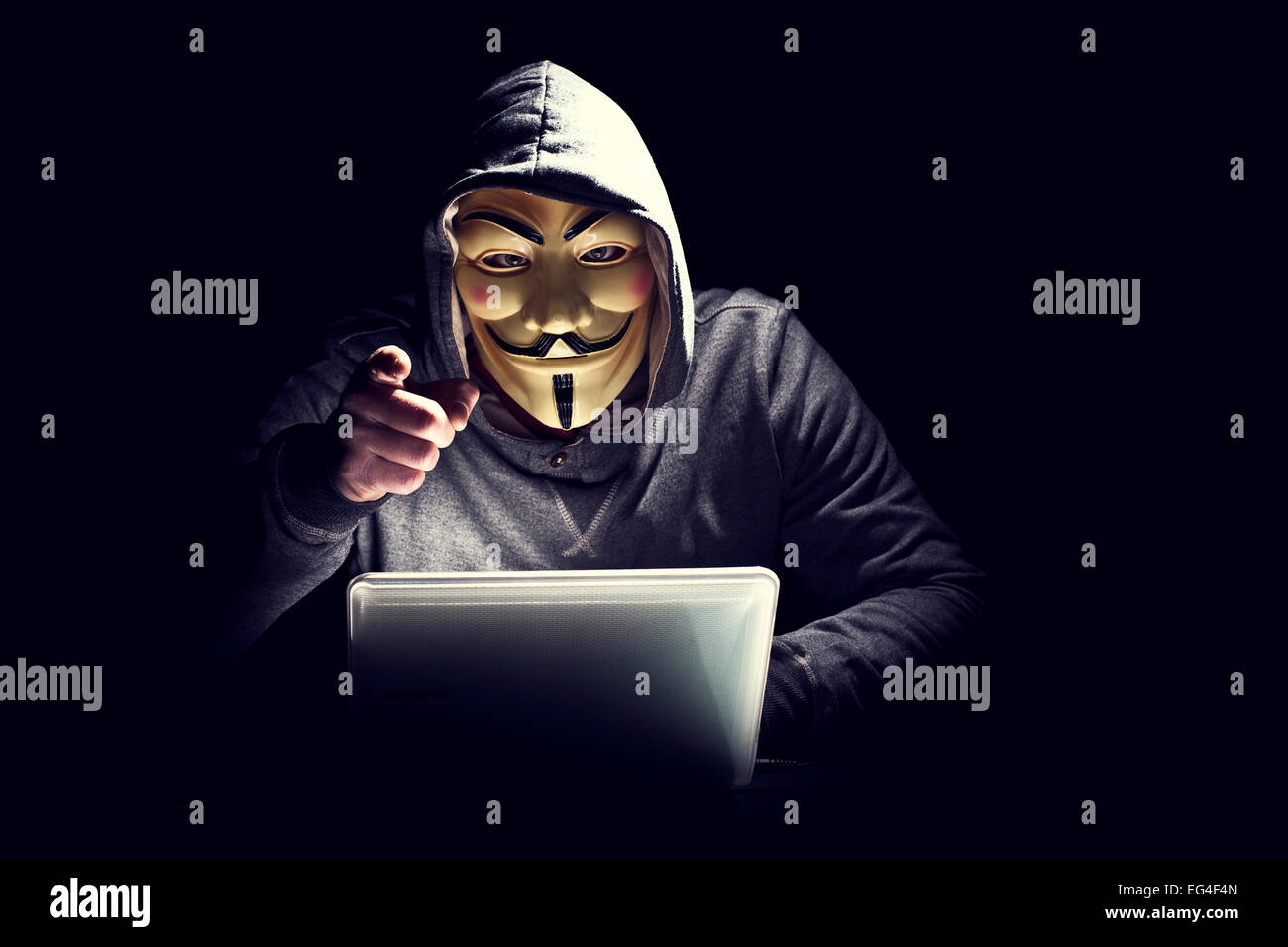 portrait of hacker with mask - Stock Image