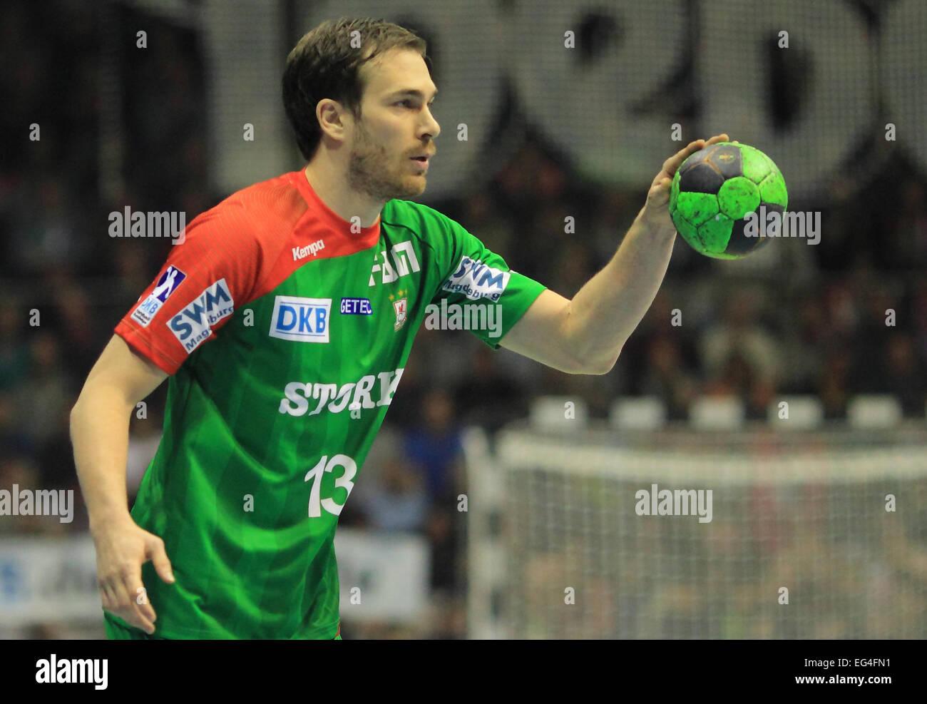 Magdeburg, Germany. 15th Feb, 2015. Magdeburg's Jure Natek in action during the Bundesliga handball match SC - Stock Image