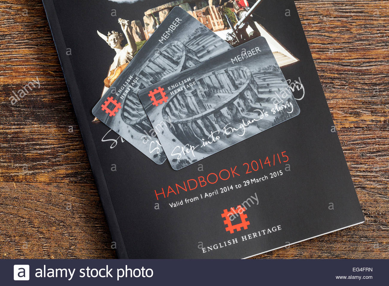 English heritage handbook and membership cards - FOR EDITORIAL USE - Stock Image