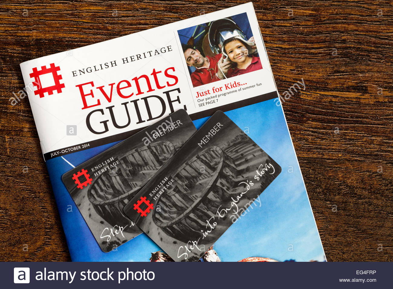 English Heritage membership cards and events guide - FOR EDITORIAL USE - Stock Image