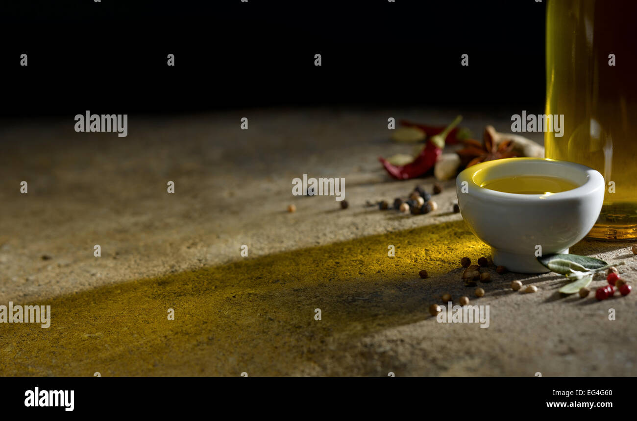 olive oil and spices - Stock Image