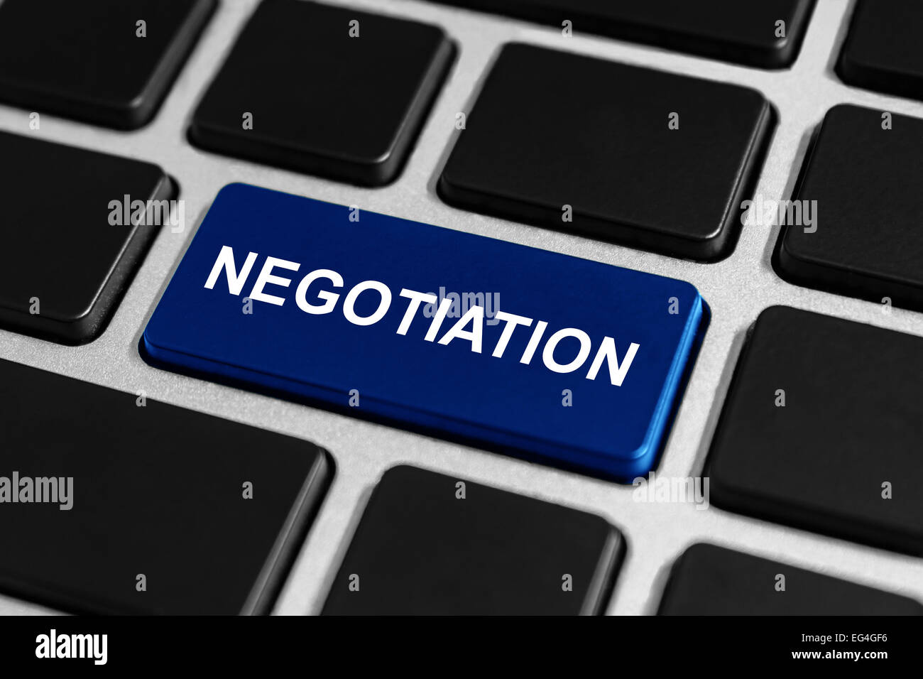negotiation blue button on keyboard, business concept - Stock Image