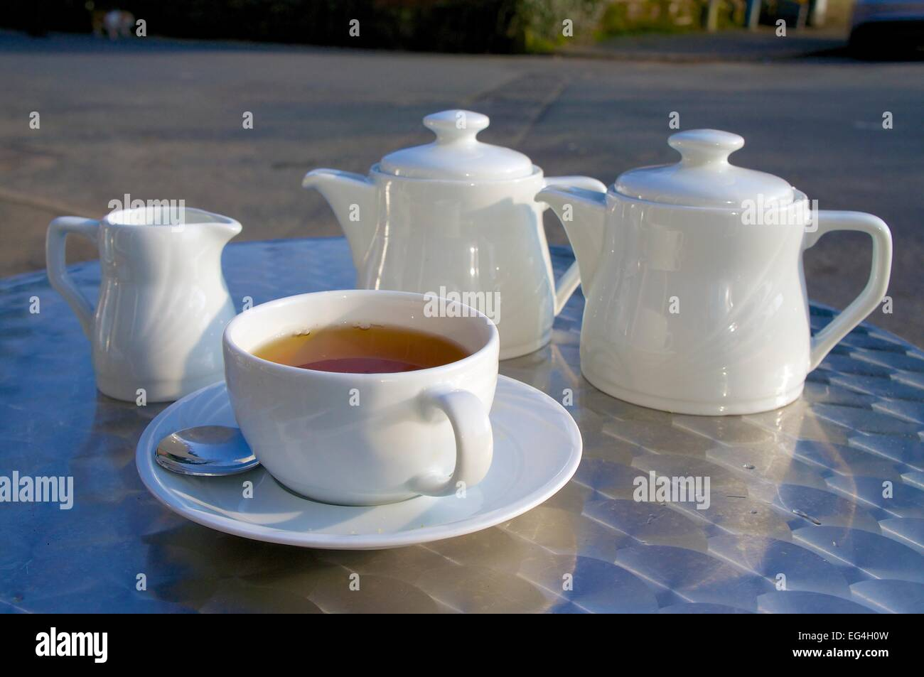 Cup of tea and tea pot on stainless steal table. - Stock Image