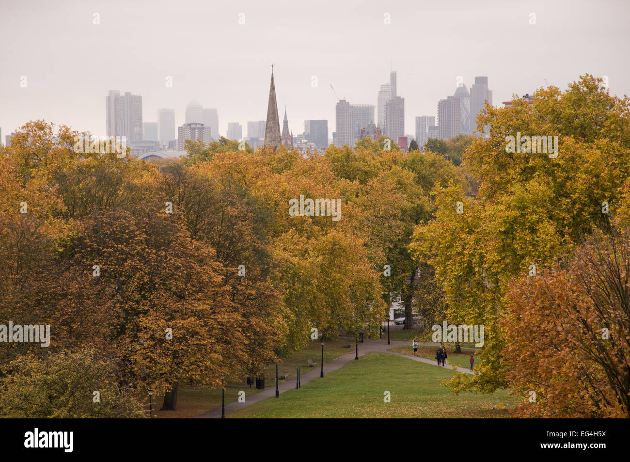 Autumn (fall) in Primrose Hill Park, London, England - Stock Image