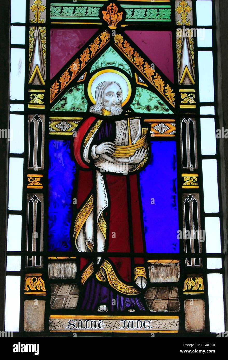 St. Jude, stained glass window, by Joseph Grant, c. 1855 Wighton, Norfolk England UK saint saints - Stock Image