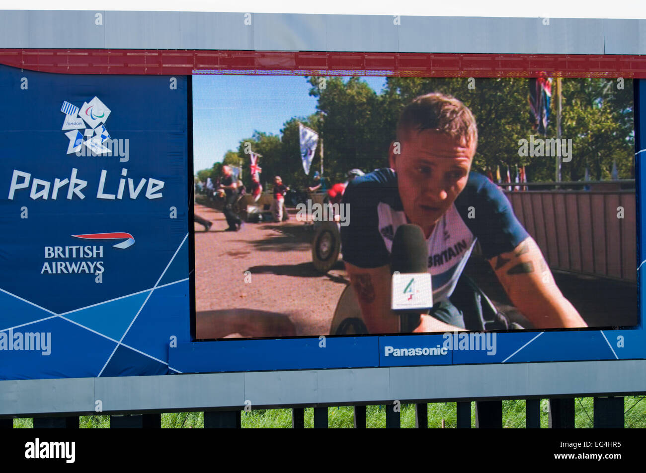 David Weir on big screen, Olympic Park, London, England - Stock Image