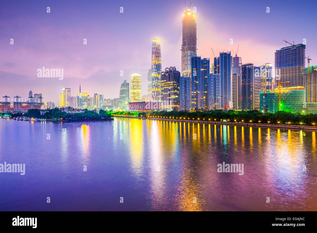 Guangzhou, China cityscape over the Pearl River. - Stock Image