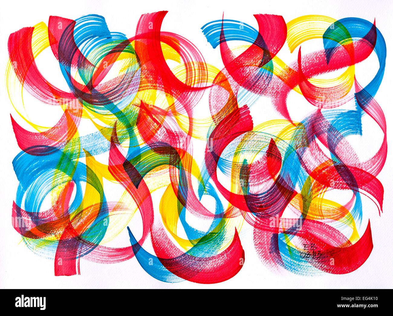 "Acrylic painting ""Eastern Dancers"" by Ed Buziak - France. - Stock Image"
