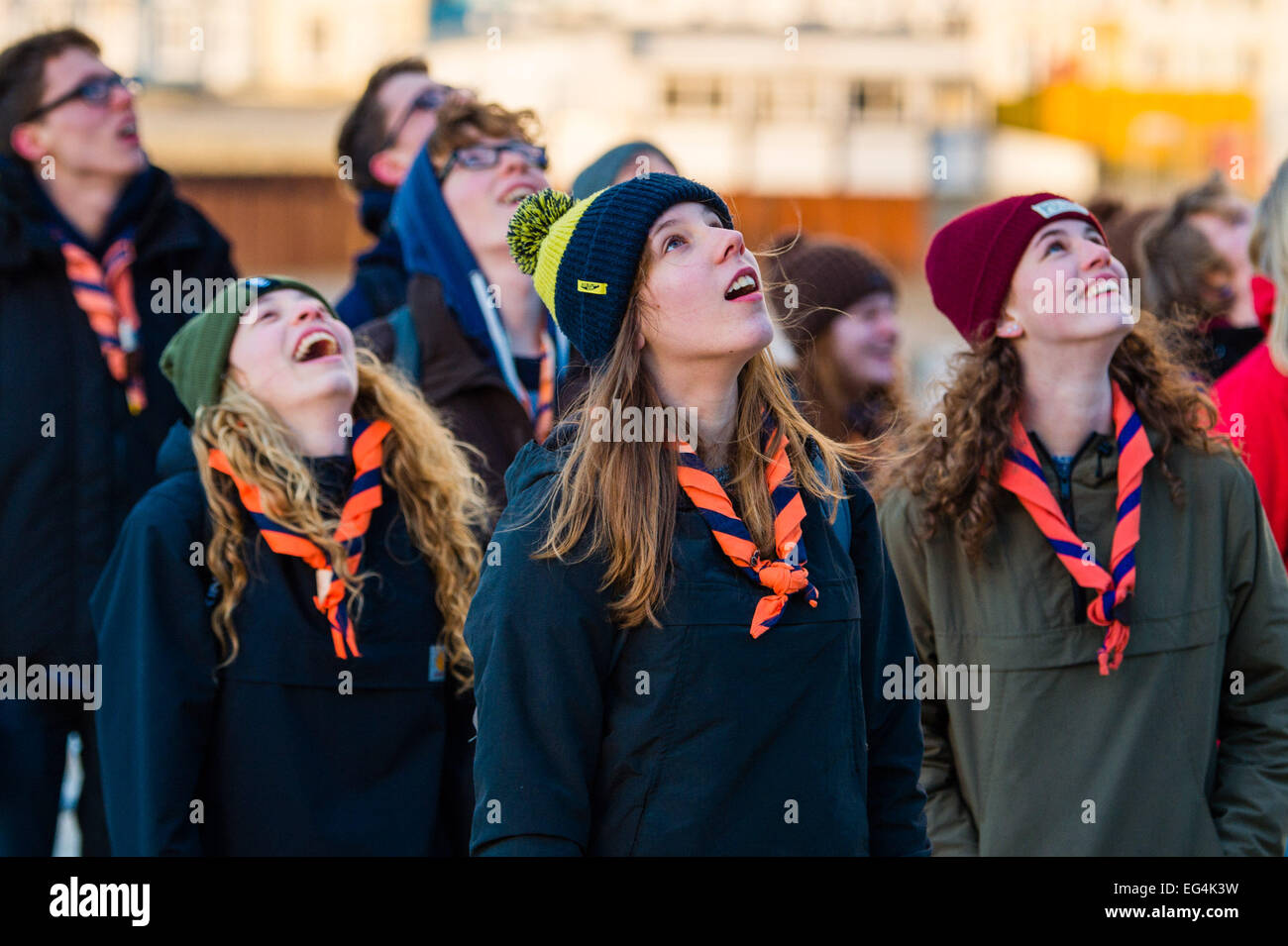 Aberystwyth, Wales, UK. 16th February, 2015.  UK Weather:  A group of young German girls scouts watch open mouthed - Stock Image