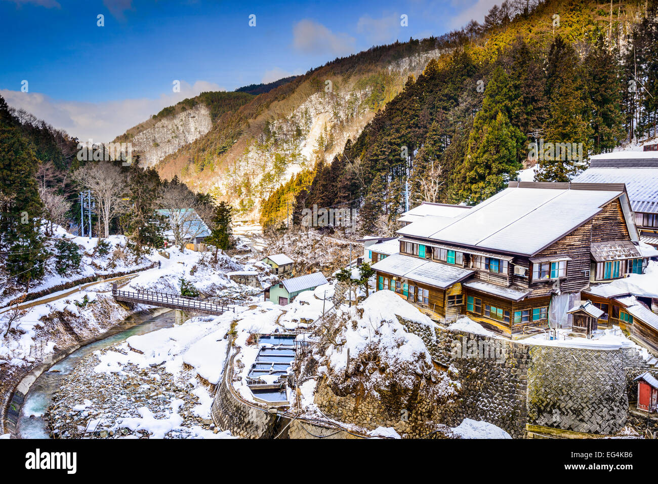 Nagano, Japan valley at Yudanaka and snow monkey park. - Stock Image