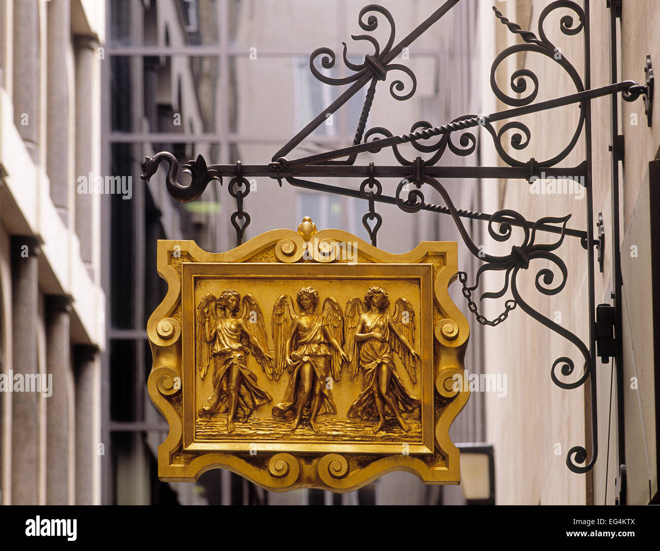 Historic sign in the City of London showing three angels Stock Photo