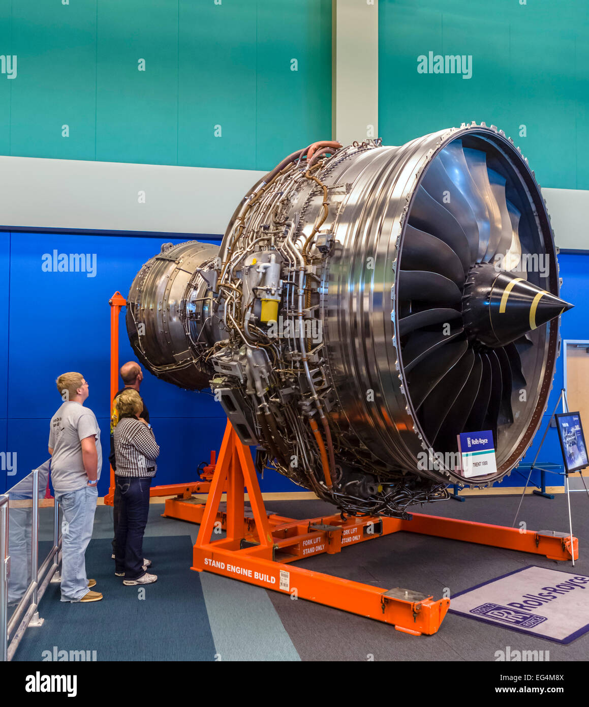 A Rolls-Royce Trent 1000 turbofan engine, Infinity Science Center, John C Stennis Space Center, Mississippi, USA - Stock Image
