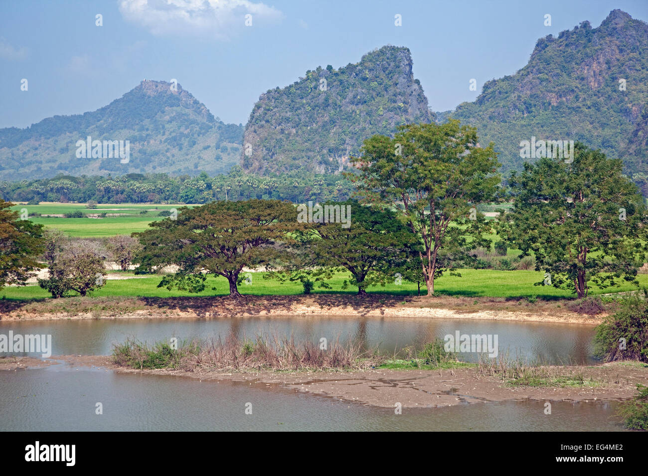 Than Lwin / Salween River and view over the rocky karst outcrops and mountains near Hpa-an, Kayin / Karen State, Stock Photo