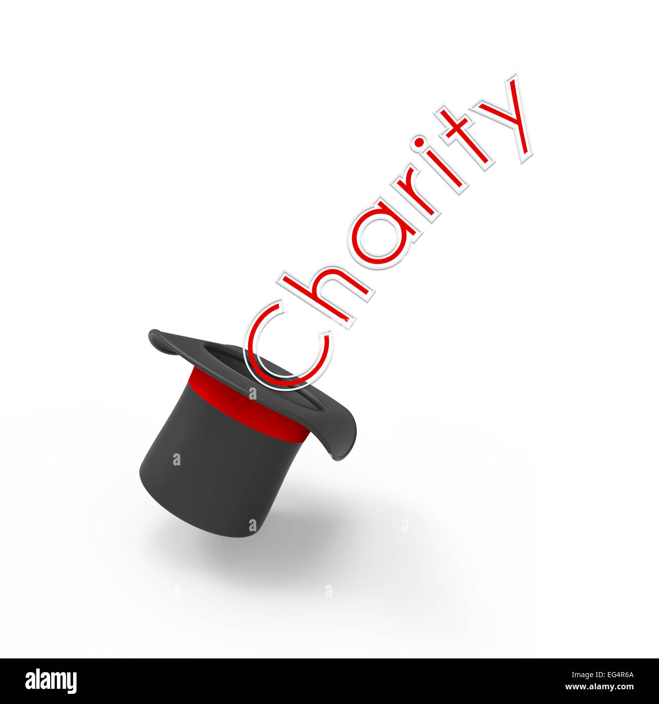 Three-dimensional illusionist's top hat on white background with pop-up caption 'Charity'. Concept of - Stock Image