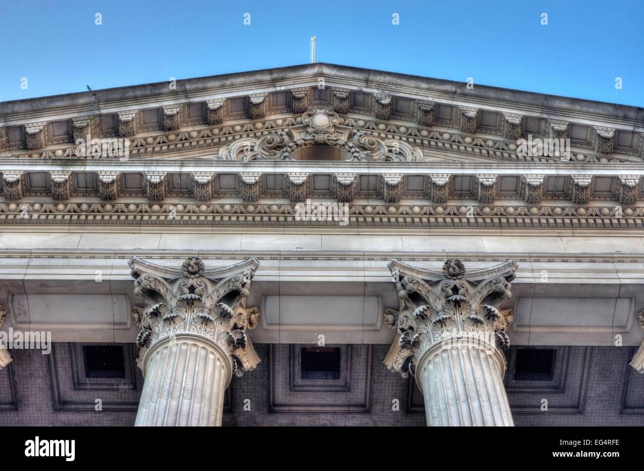 corinthian columns and pediment - Stock Image