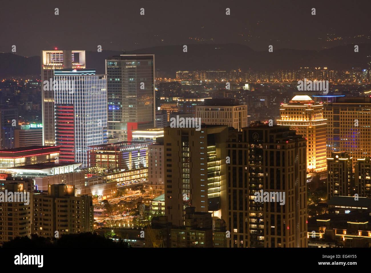 View from Taipeh Tower 101 Tower at Night, Taipei, Taiwan, China, Asia - Stock Image
