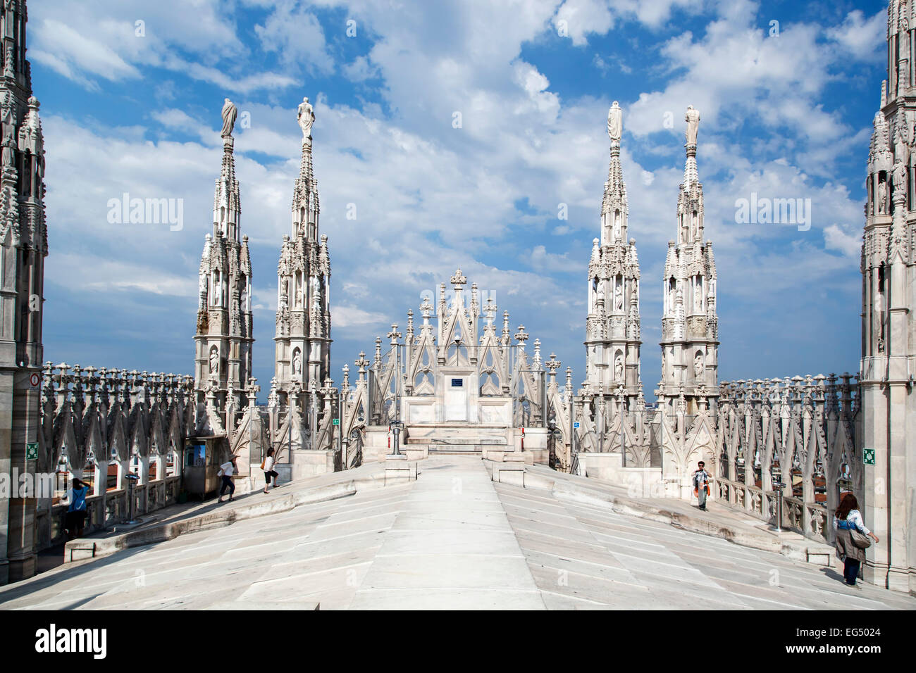 Spires and people on roof top, Milan Cathedral (Duomo di Milano), Milan, Italy - Stock Image