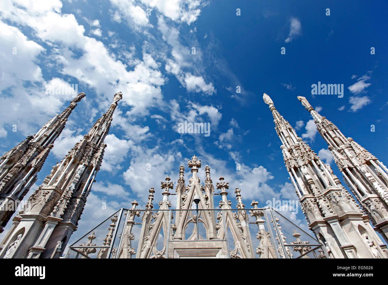 Spires, Milan Cathedral (Duomo di Milano), Milan, Italy - Stock Image