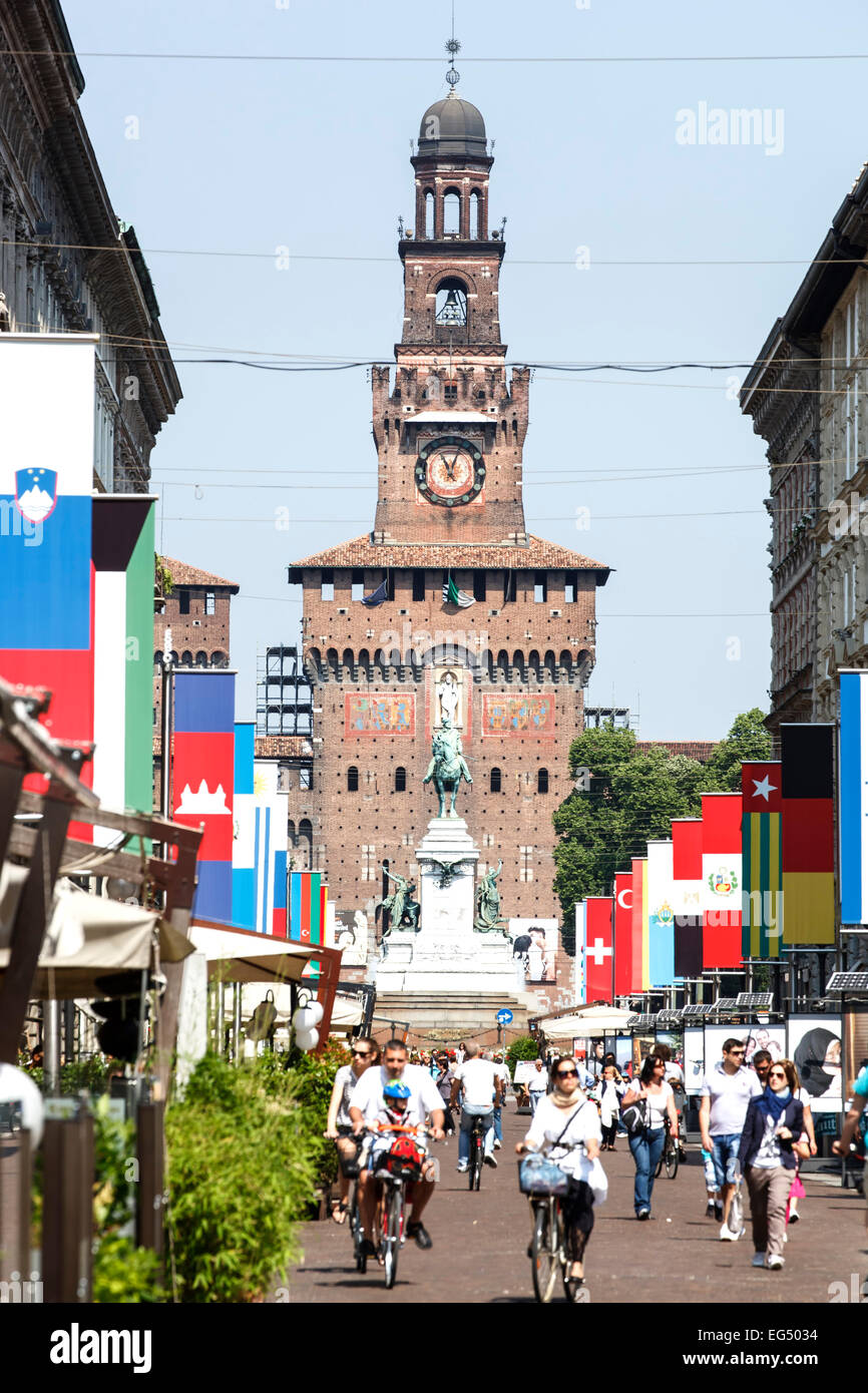 Sforza Caslte and Via Dante, Milan, Italy - Stock Image