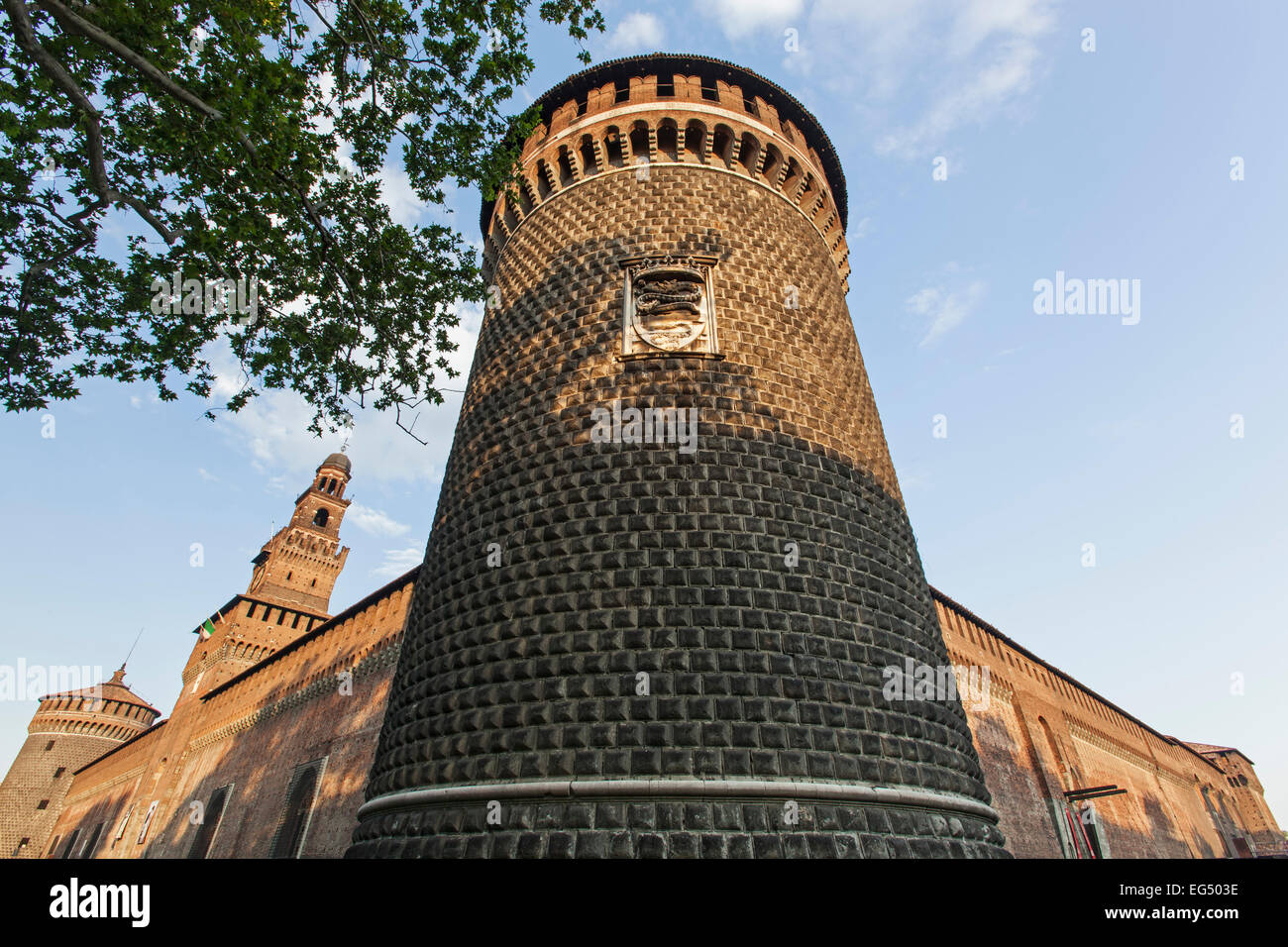 Towers, Sforza Castle, Milan, Italy - Stock Image