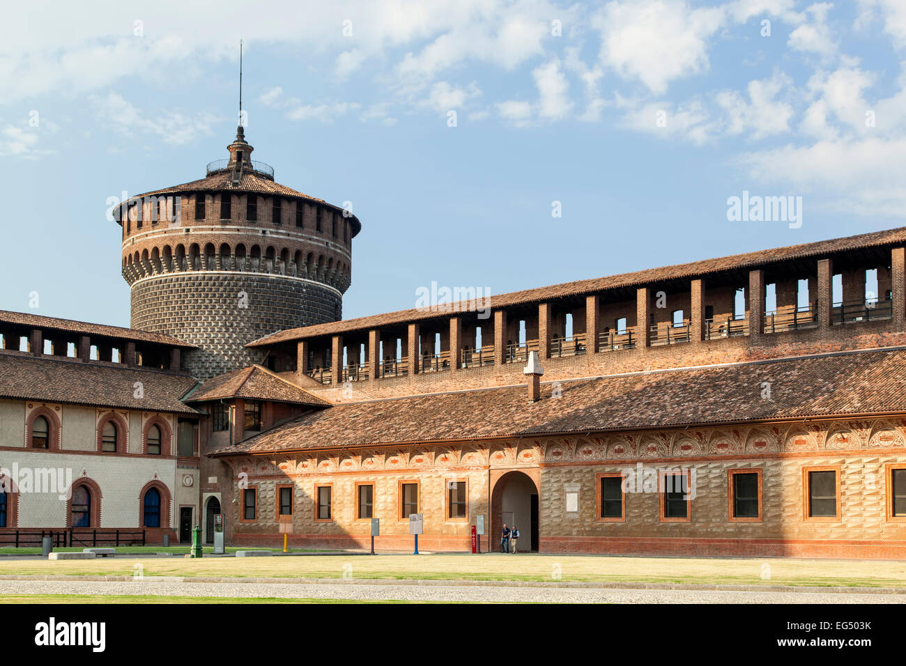 Tower and buildings from inner courtyard, Sforza Castle, Milan, Italy - Stock Image