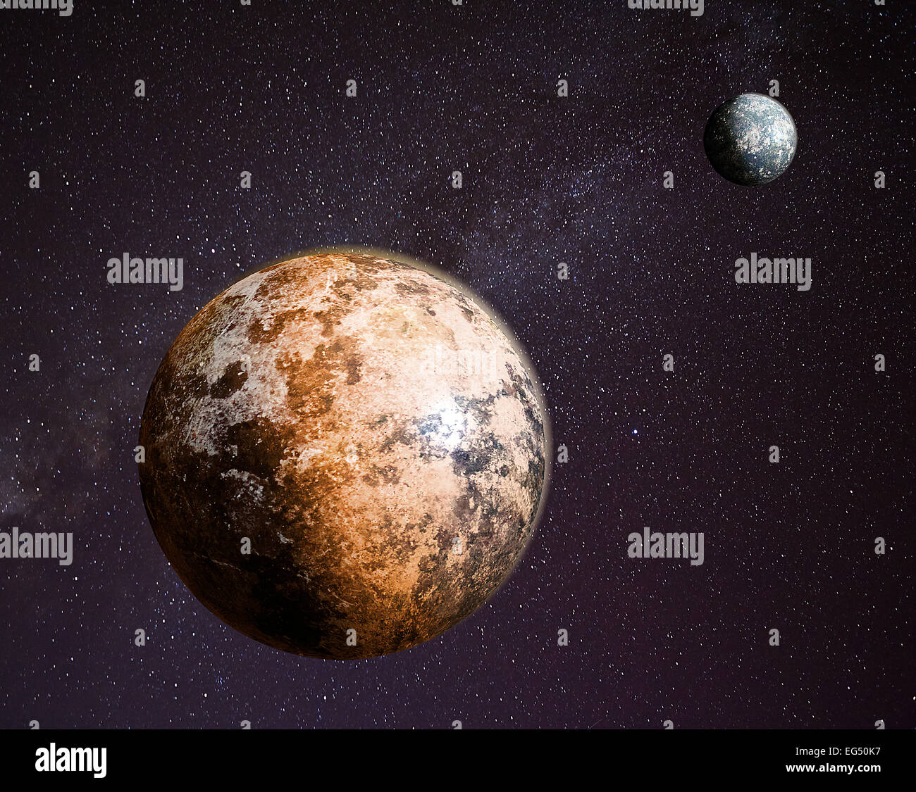 Pluto and Charon - Visualization - Stock Image